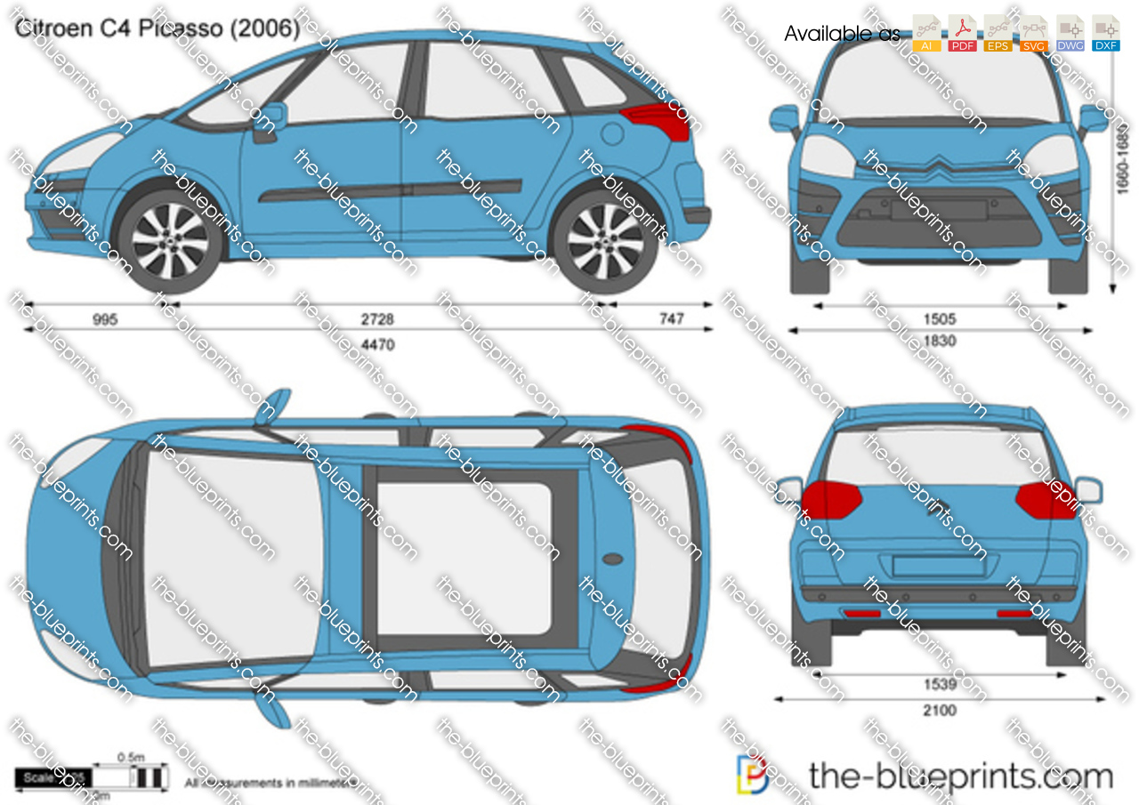 citroen c4 picasso vector drawing