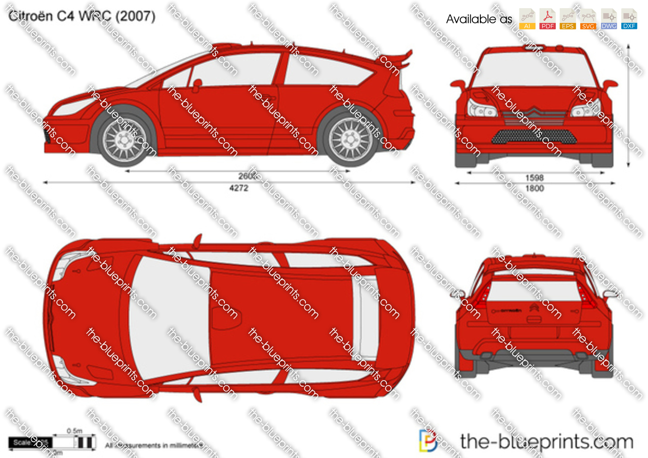 Dimensions Citroen C4 >> The-Blueprints.com - Vector Drawing - Citroen C4 WRC