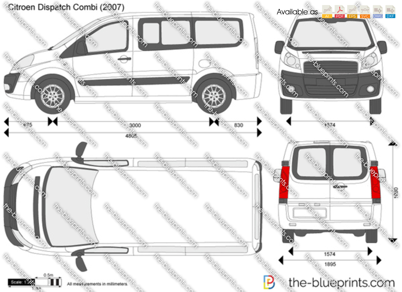 2016 Ford Transit >> The-Blueprints.com - Vector Drawing - Citroen Dispatch Combi