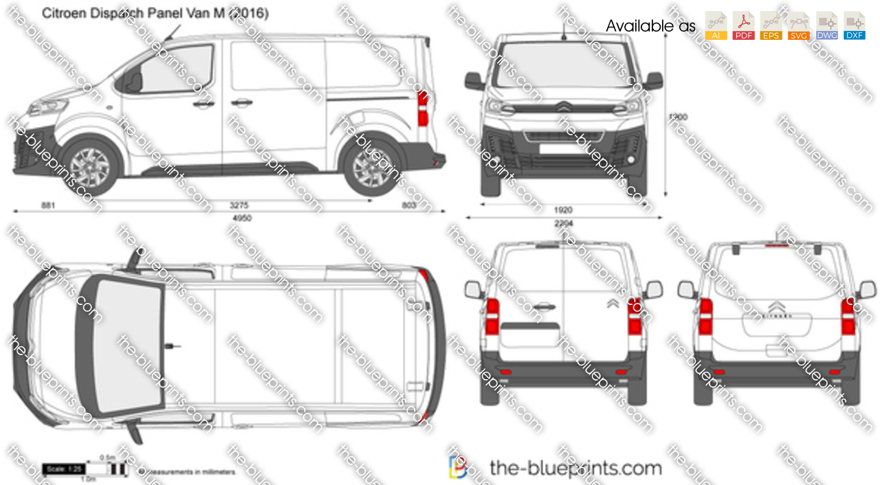 citroen dispatch panel van m vector drawing