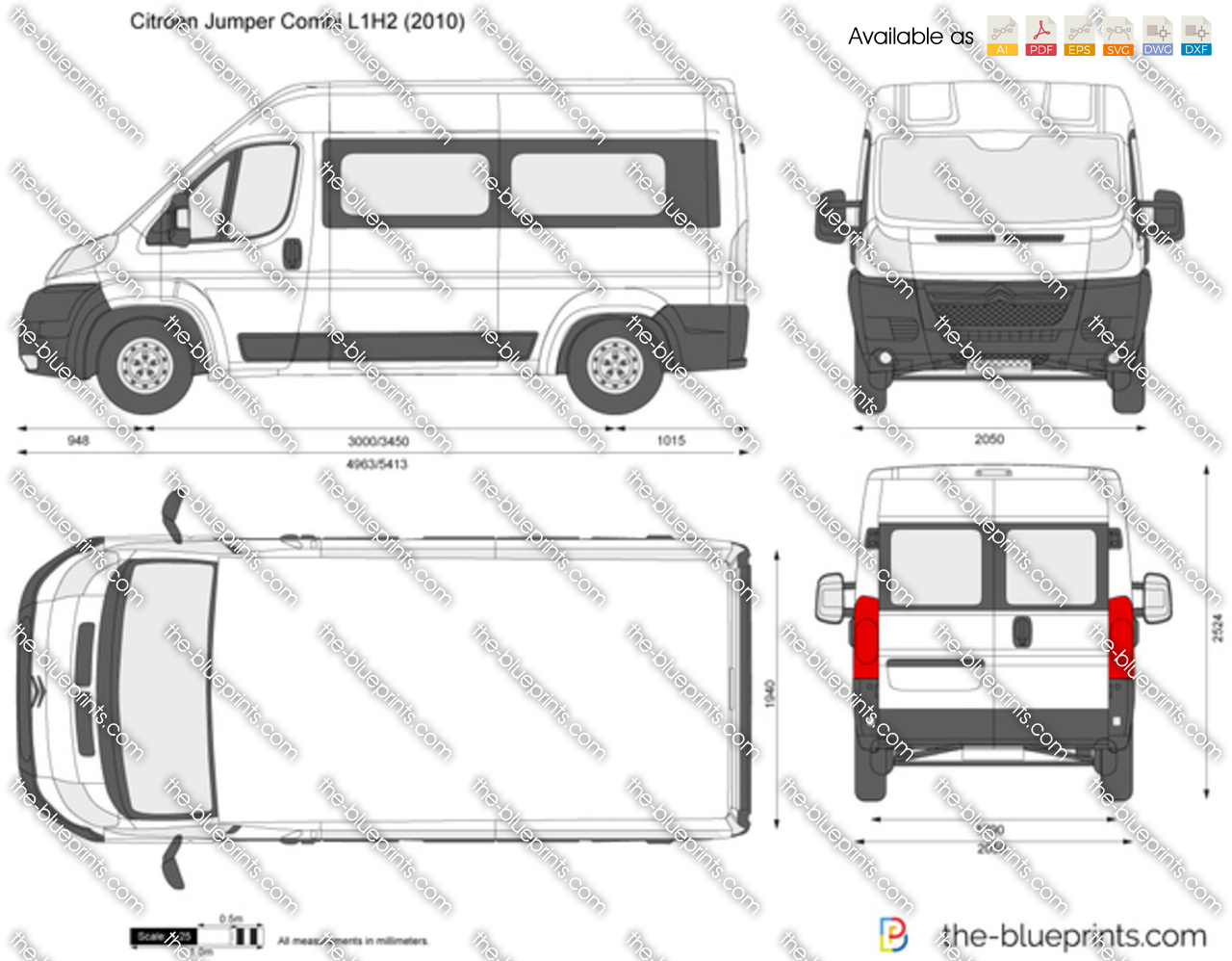 citroen jumper combi l1h2 vector drawing