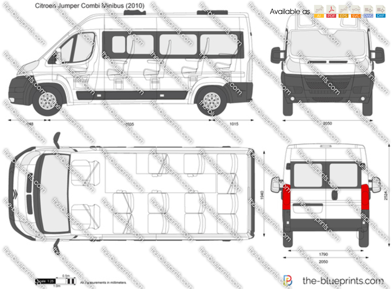 citroen jumper combi minibus vector drawing. Black Bedroom Furniture Sets. Home Design Ideas