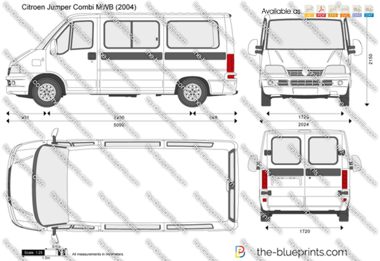 The-Blueprints.com - Vector Drawing - Citroen Jumper Combi MWB
