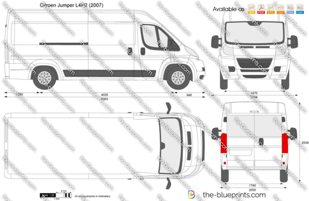 citroen jumper l4h2 vector drawing