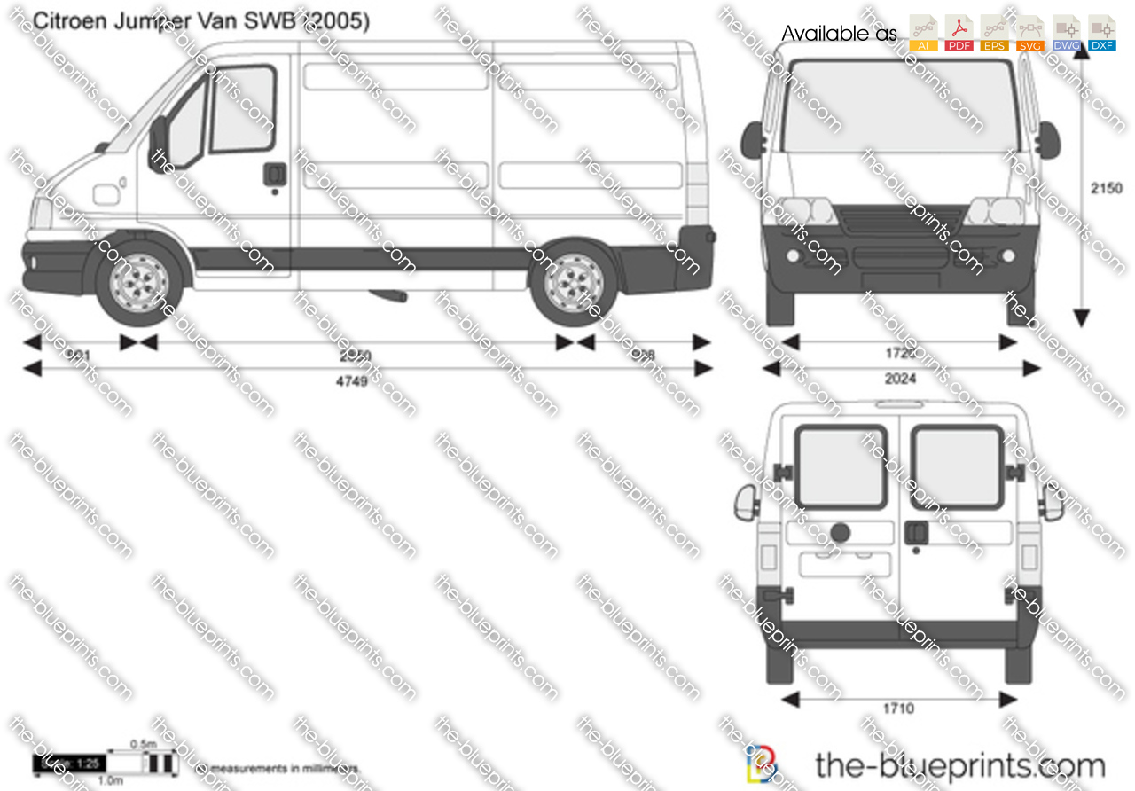 The-Blueprints.com - Vector Drawing - Citroen Jumper Van MWB