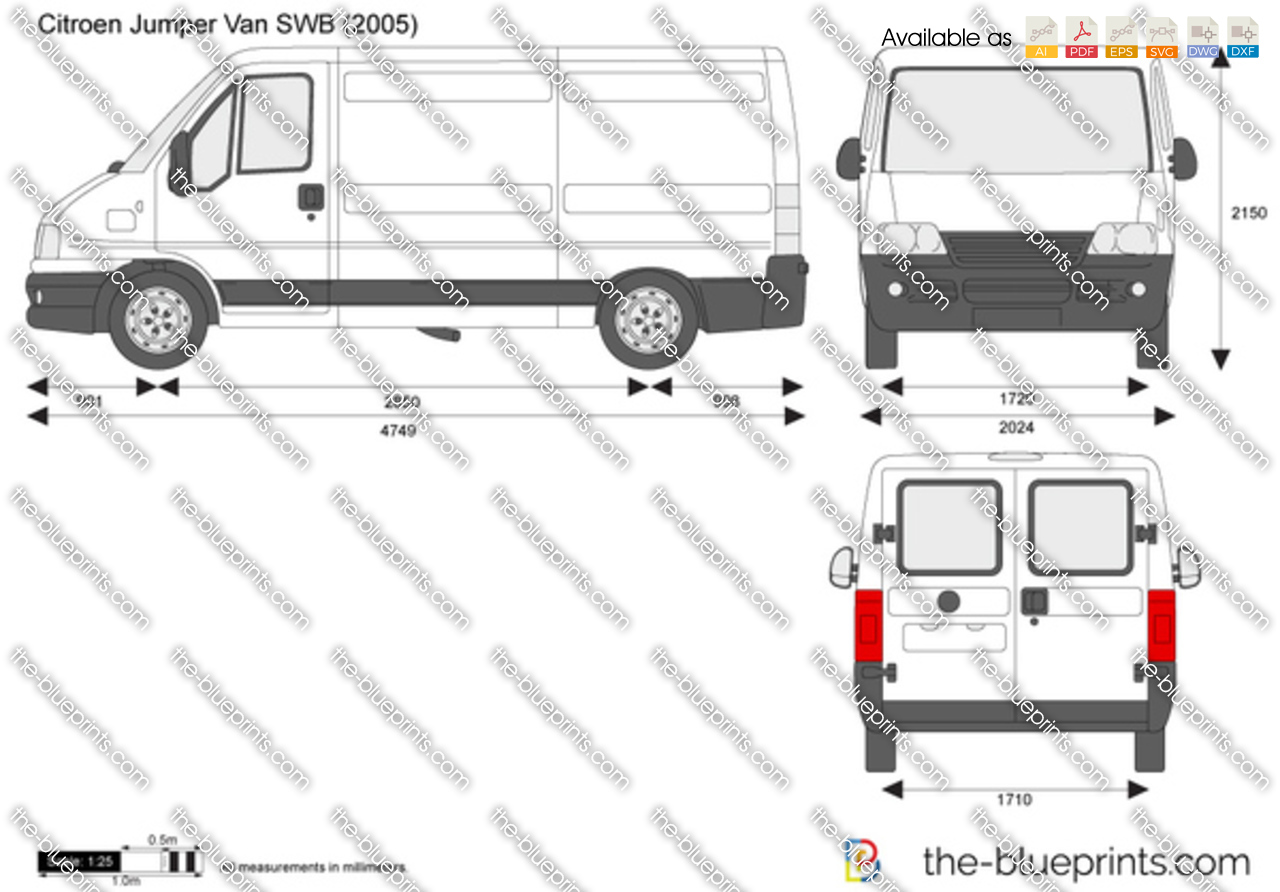citroen jumper van swb vector drawing
