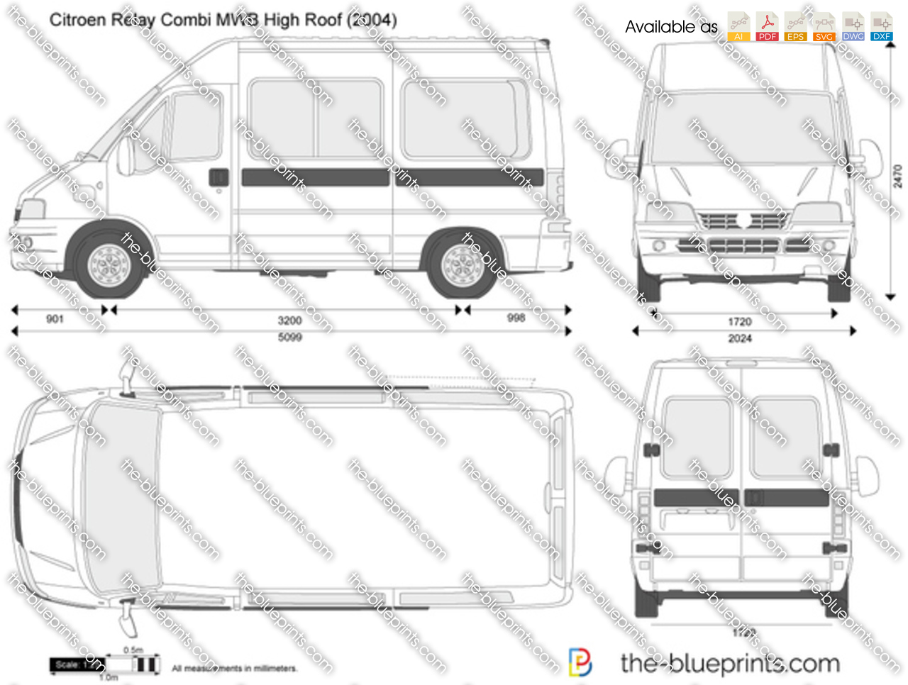 Citroen Relay Combi Mwb High Roof Vector Drawing
