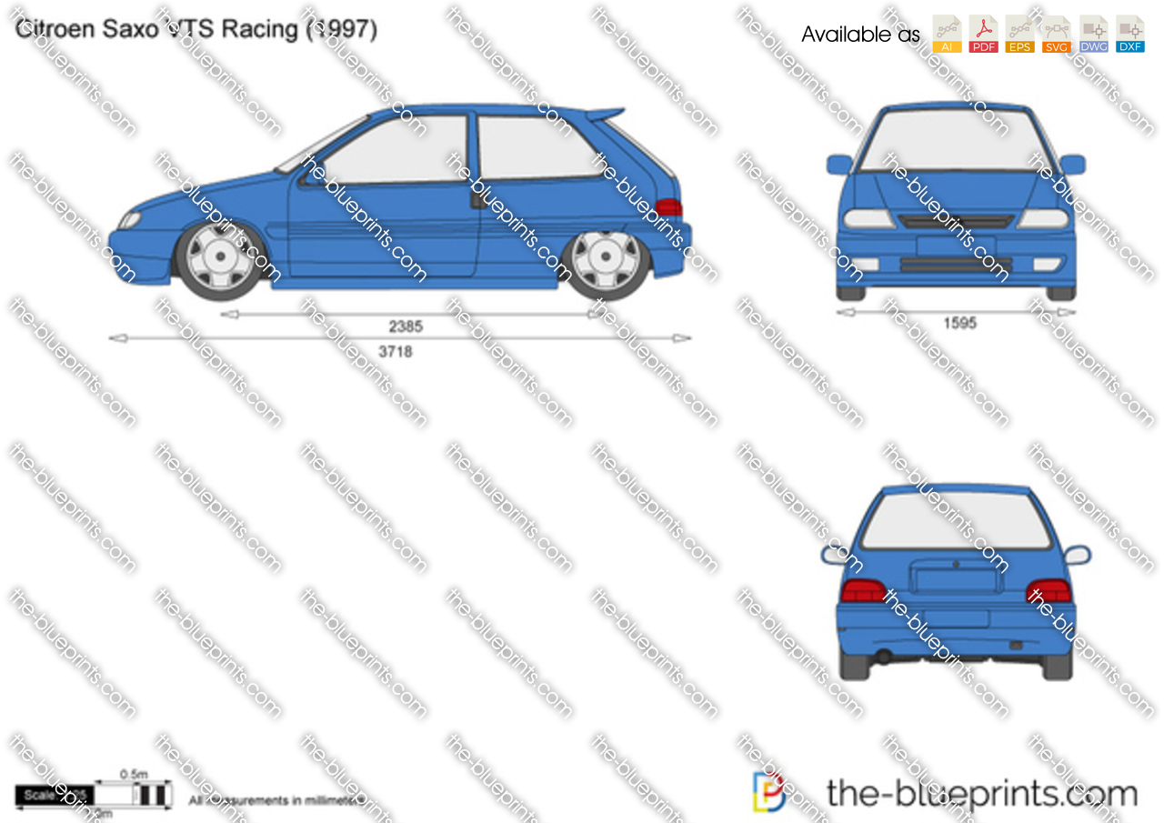 Citroen Saxo Vts Racing Vector Drawing