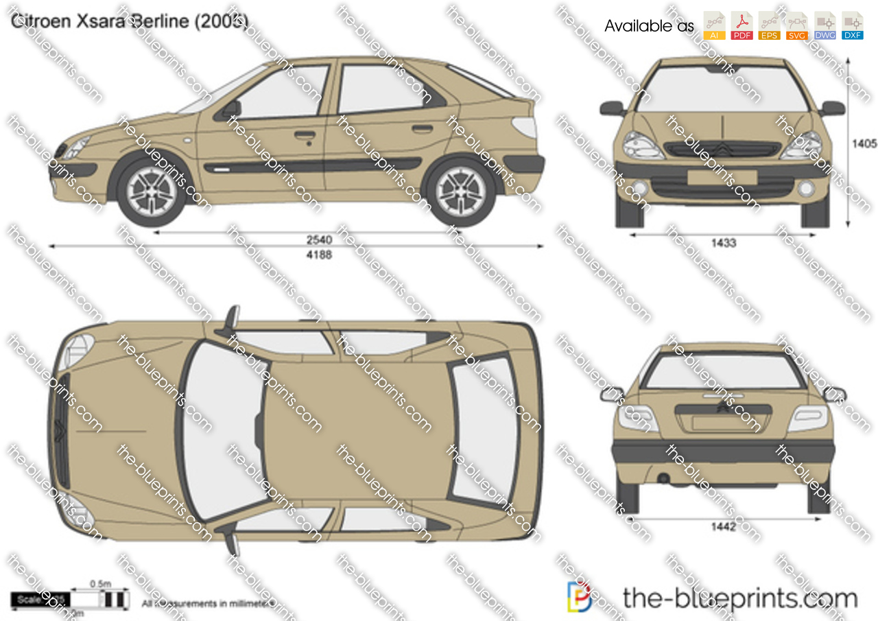 Citroen Xsara Berline Vector Drawing