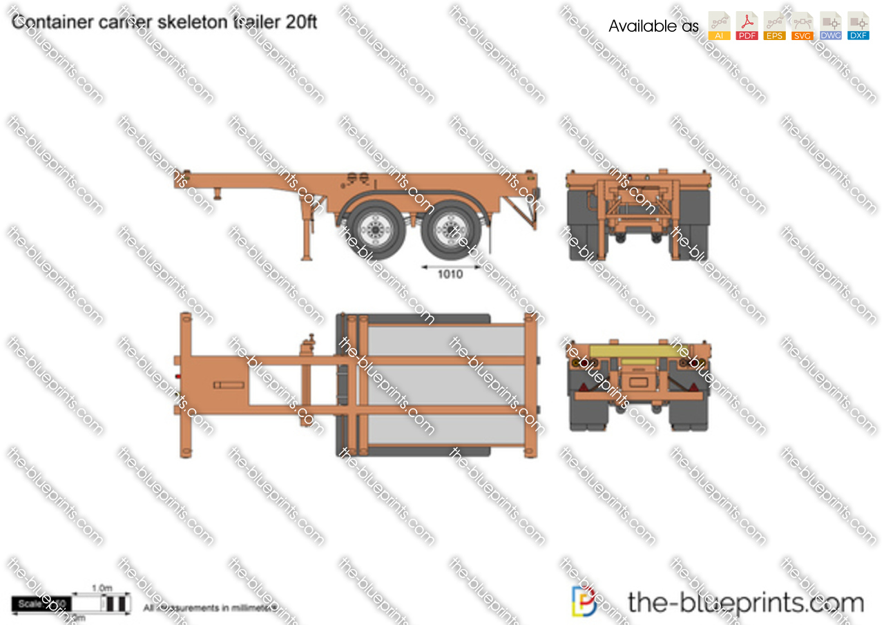 Container carrier skeleton trailer 20ft