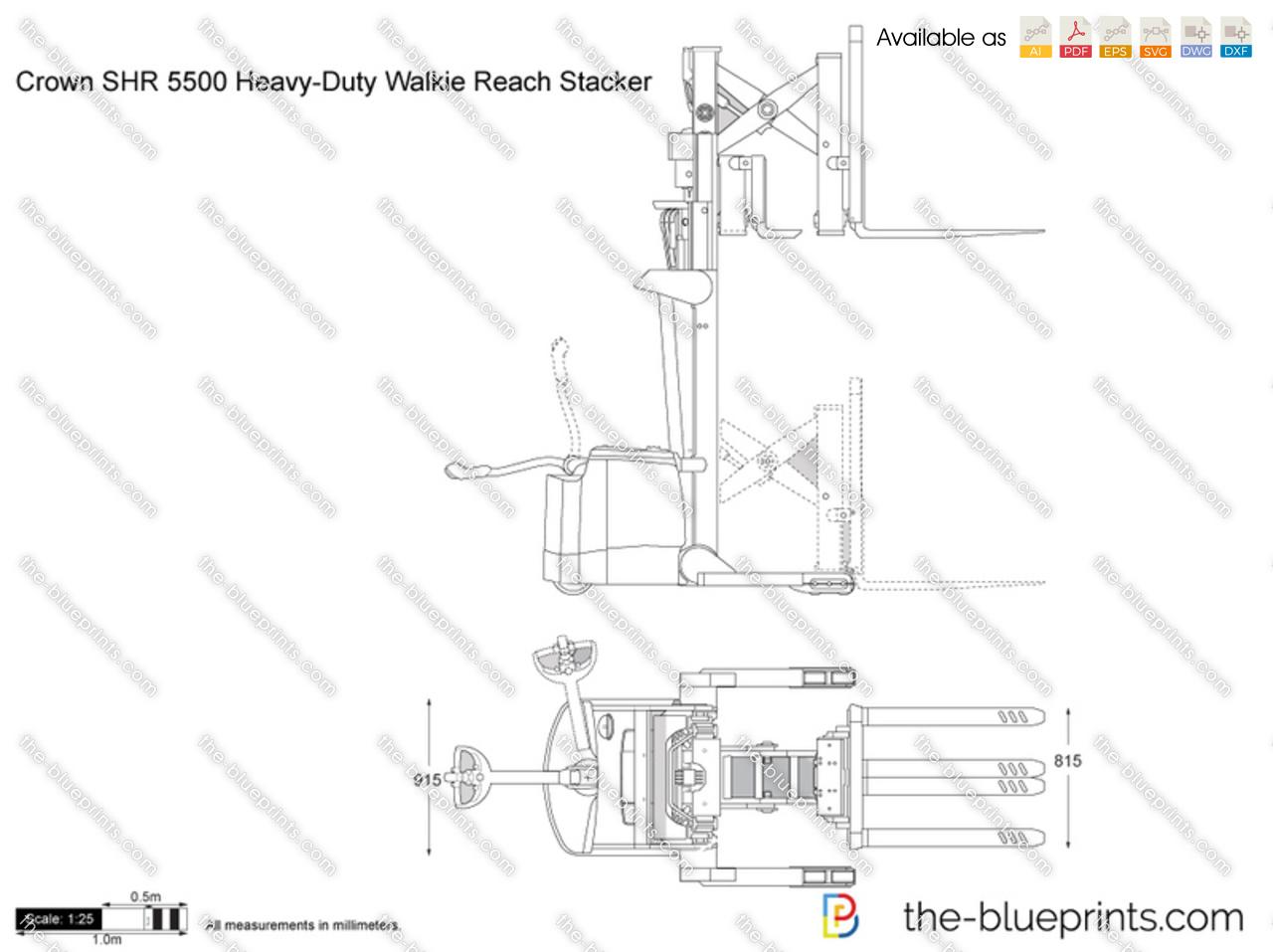 Crown SHR 5500 Heavy-Duty Walkie Reach Stacker