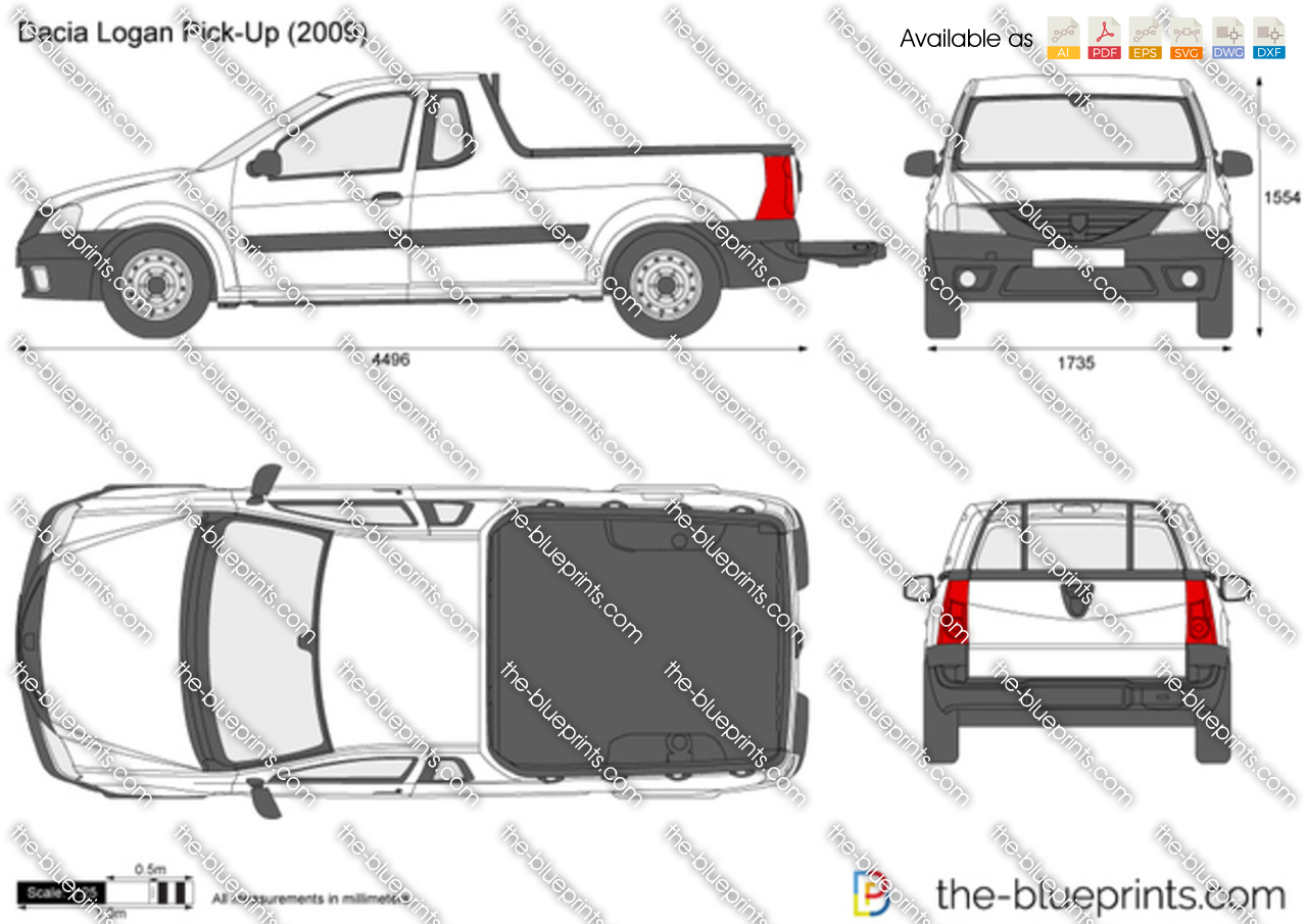 The Blueprints Com Vector Drawing Dacia Logan Pick Up
