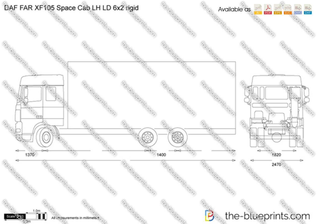 DAF FAR XF105 Space Cab LH LD 6x2 rigid