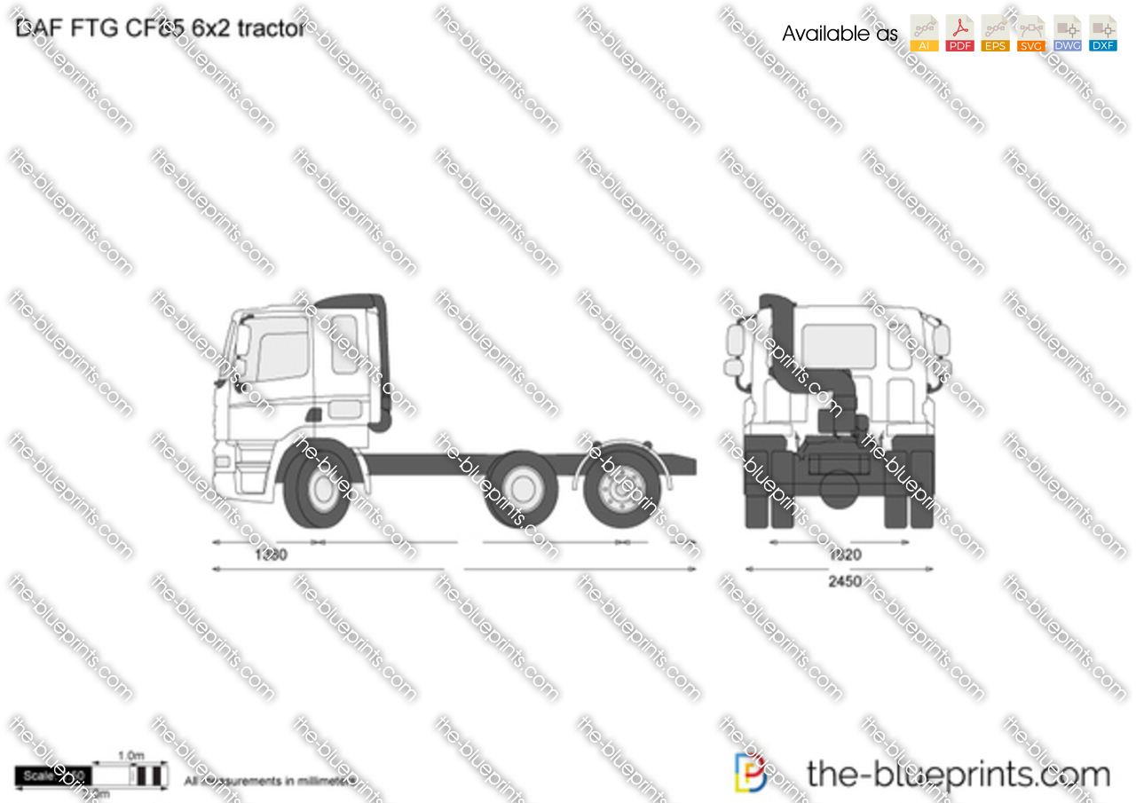 daf ftg cf85 6x2 tractor vector drawing
