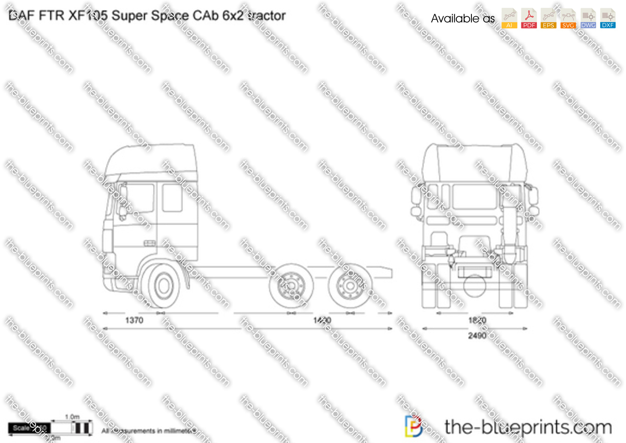 DAF FTR XF105 Super Space CAb 6x2 tractor