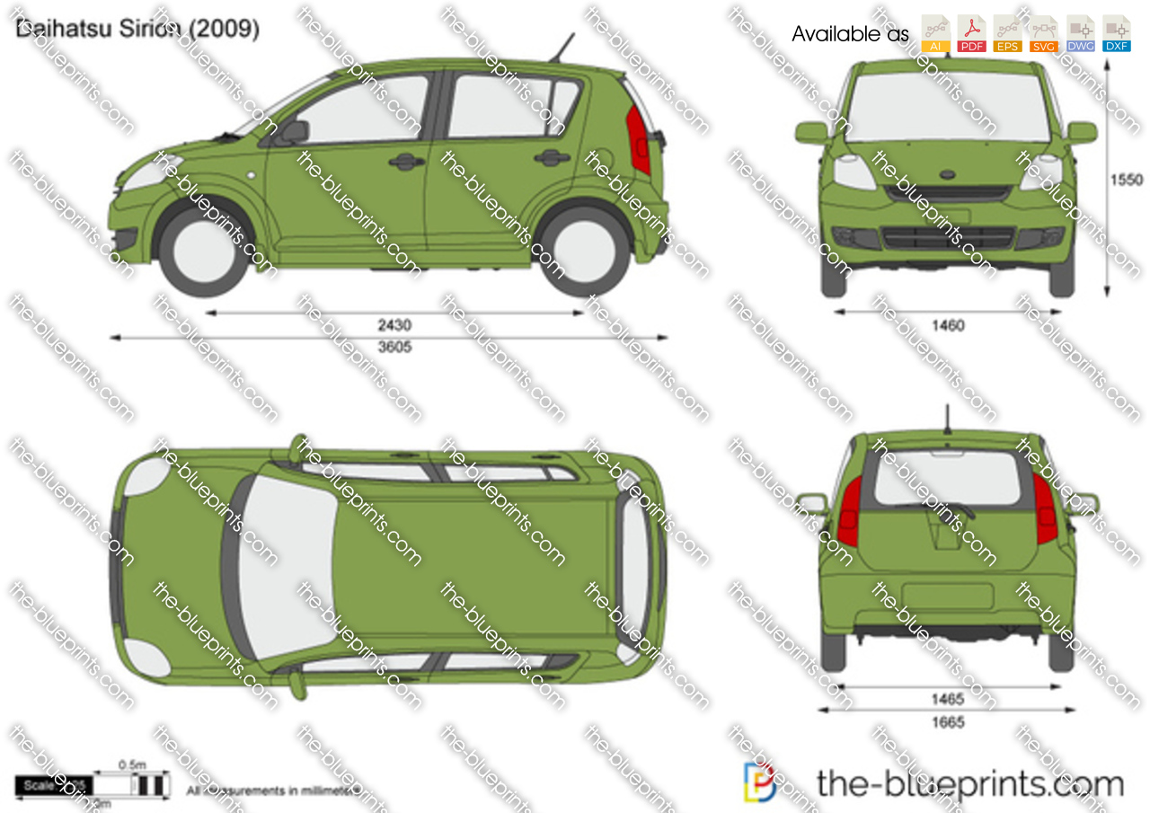 2010 Ford Transit Connect >> The-Blueprints.com - Vector Drawing - Daihatsu Sirion