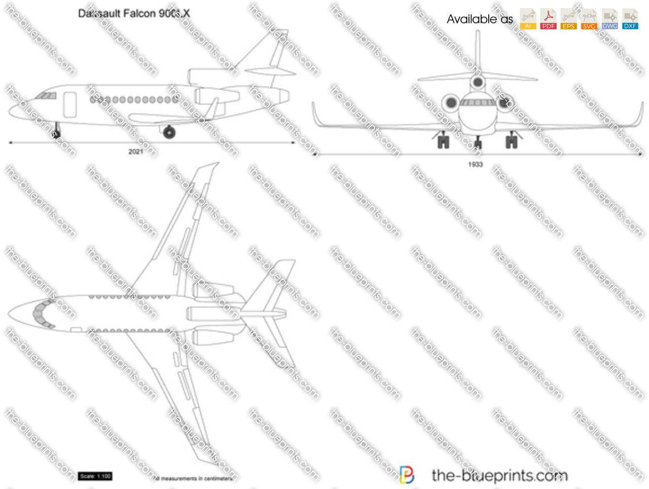 Dassault falcon 900lx vector drawing for Where to get blueprints