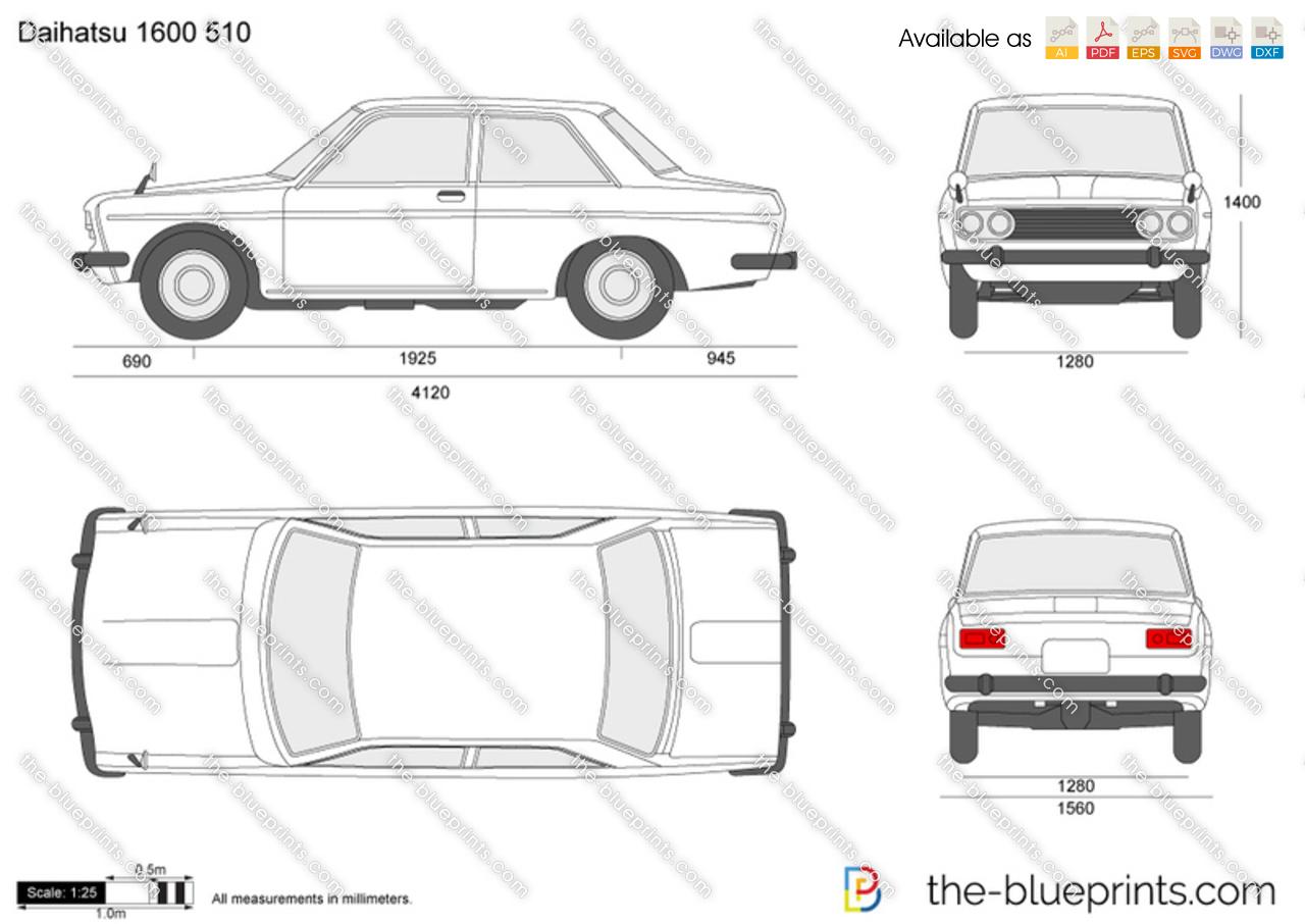 The Blueprints Com Vector Drawing Datsun 1600 510