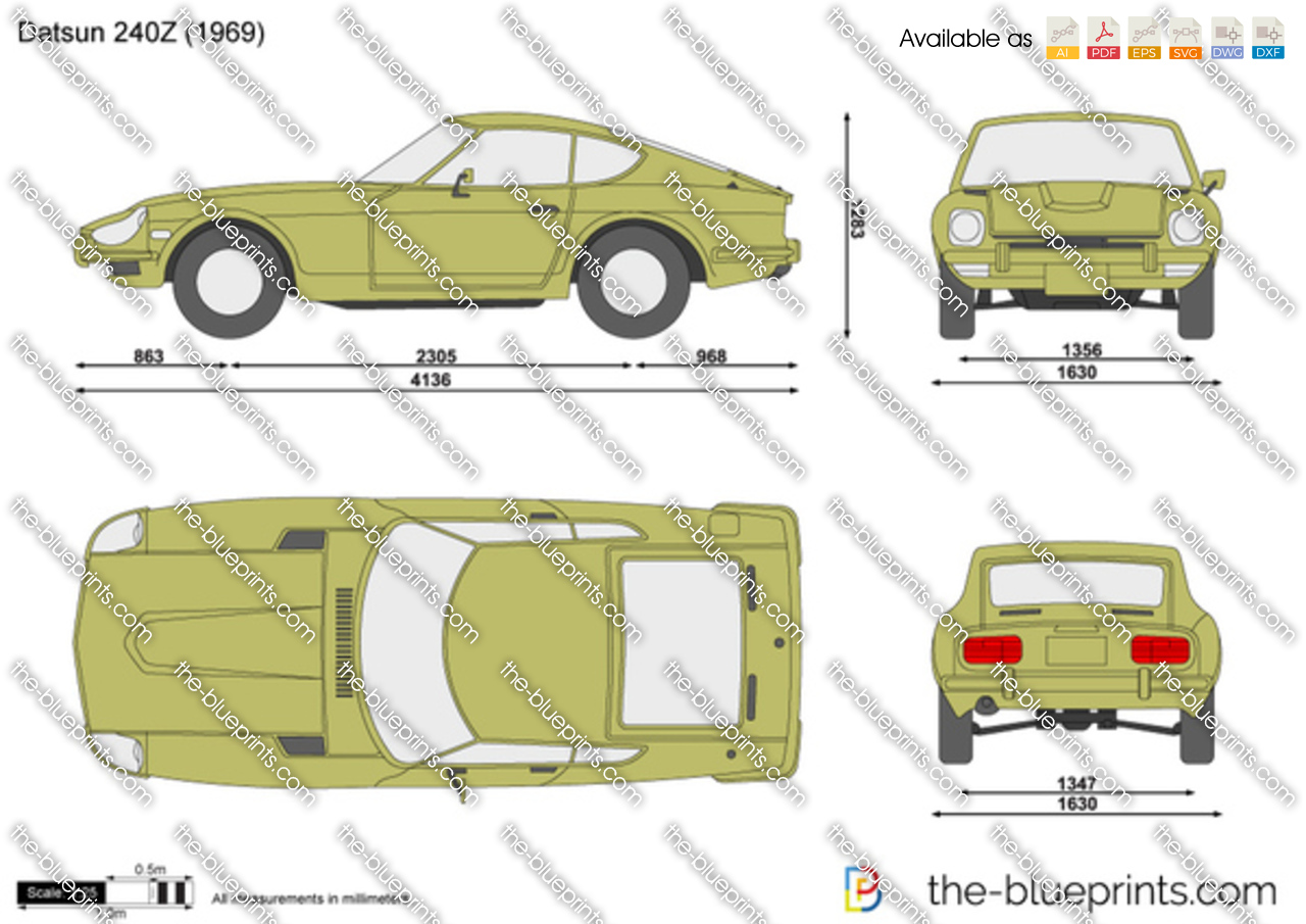 The vector drawing datsun 240z Blueprints for sale