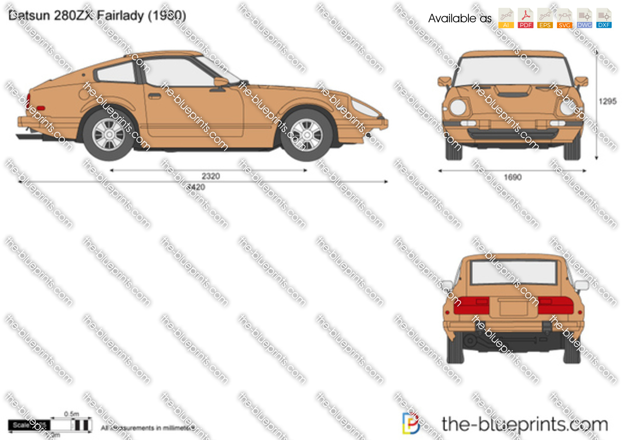 Datsun 280zx Fairlady Vector Drawing