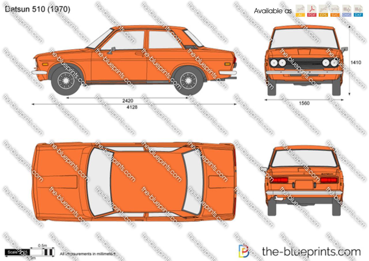 Datsun 510 vector drawing