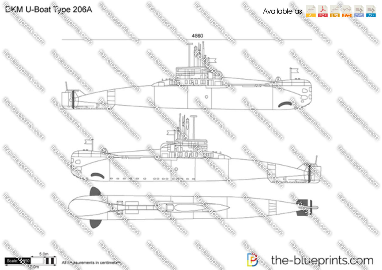 DKM U-Boat Type 206A vector drawing on