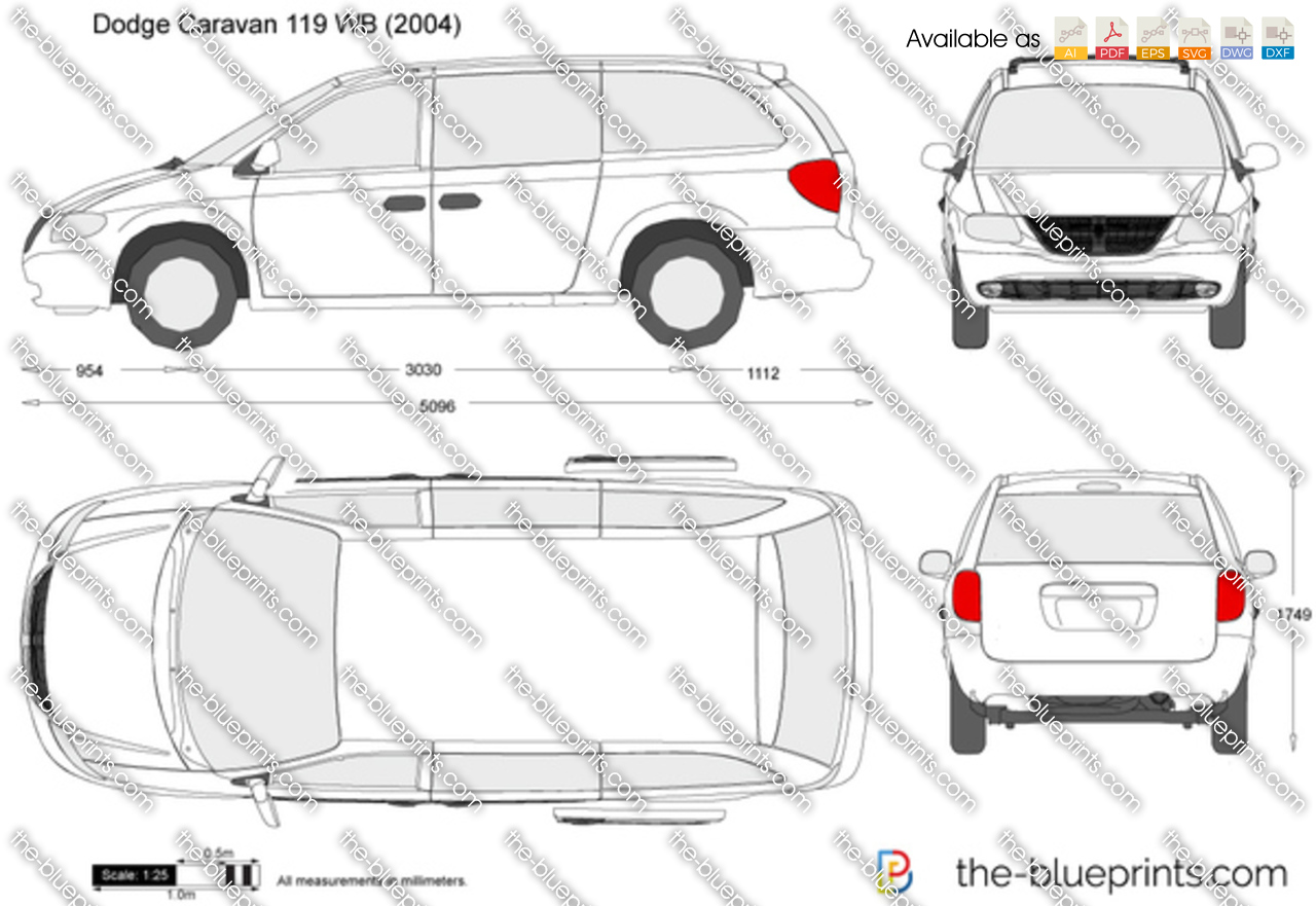 Dodge Caravan 119 Wb Vector Drawing