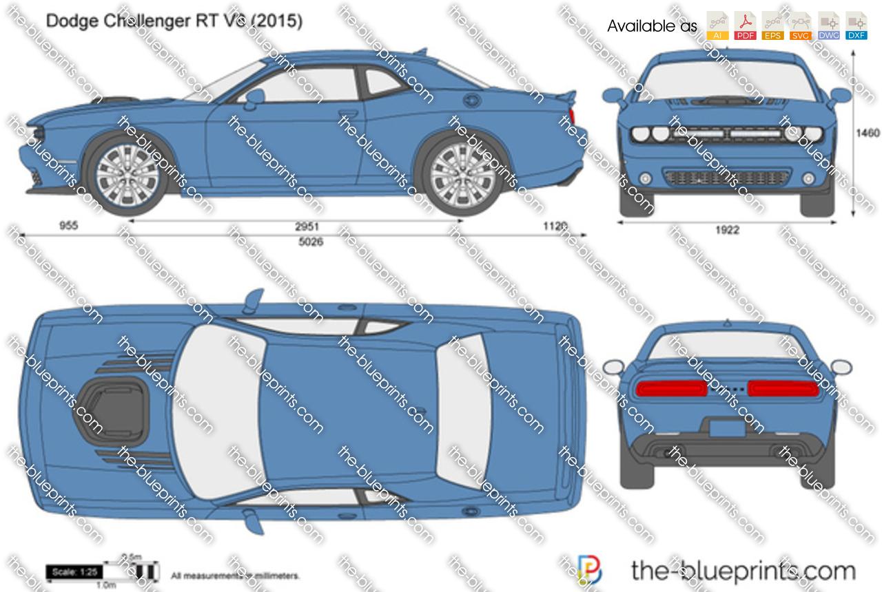 The-Blueprints.com - Vector Drawing - Dodge Challenger R/T V8