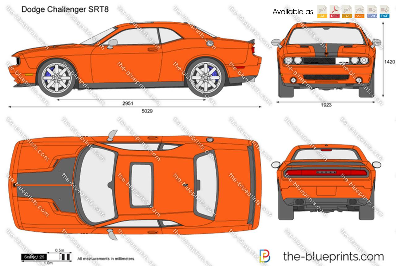 Dodge Challenger Srt8 Vector Drawing