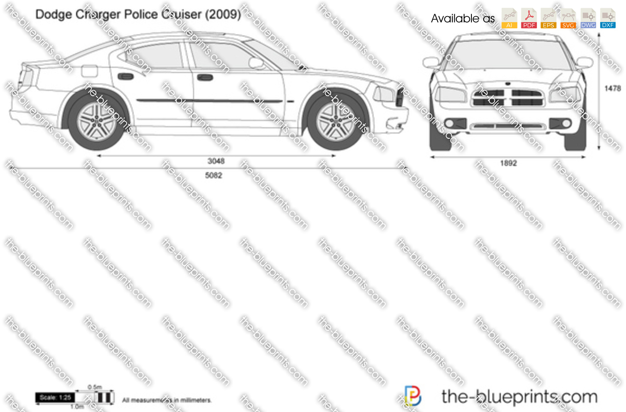 dodge charger police cruiser vector drawing