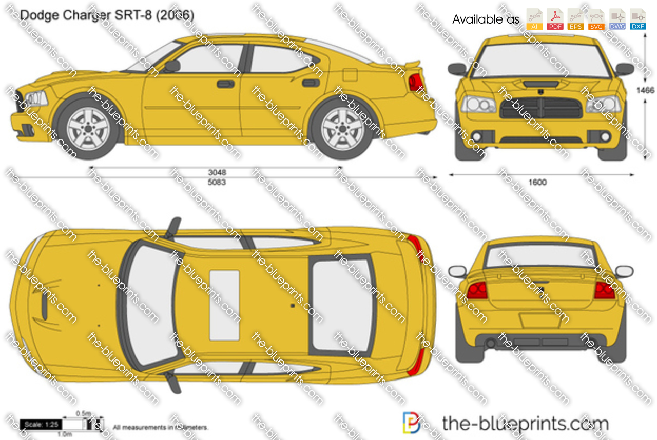 Draw Blueprints Online Dodge Charger Srt 8 Vector Drawing