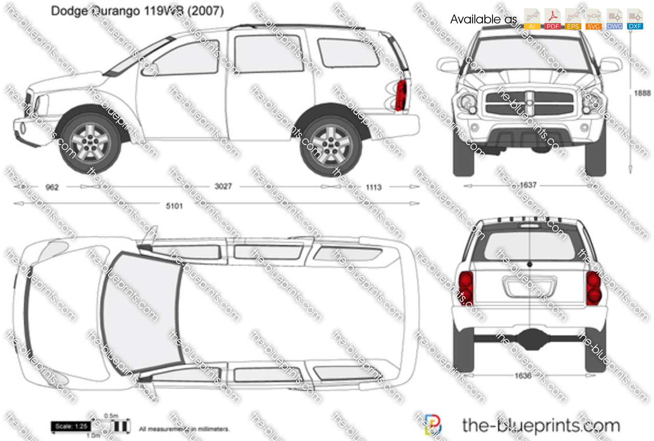dodge durango 119wb vector drawing
