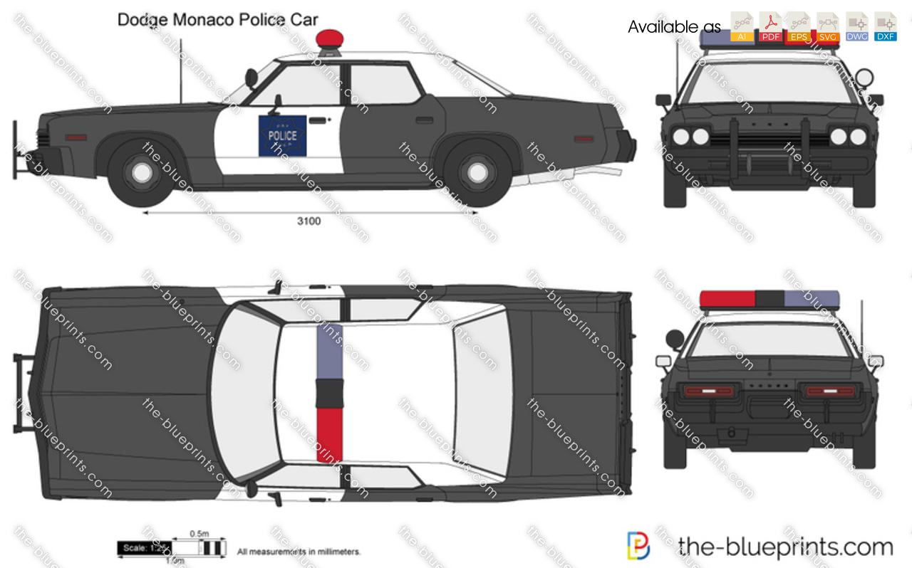 Dodge Monaco Police Car vector drawing