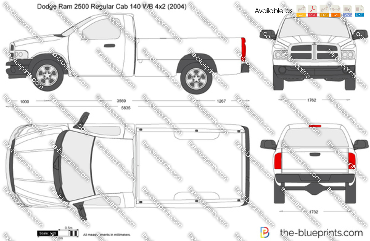 Dodge Ram 2500 Regular Cab 140 Wb 4x2 Vector Drawing