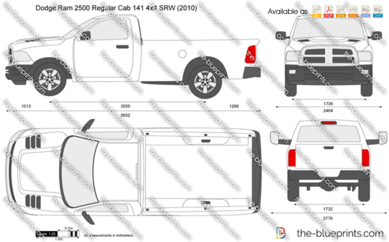 Vector Drawing   Dodge Ram 2500 Regular Cab 141 4x4 SRW