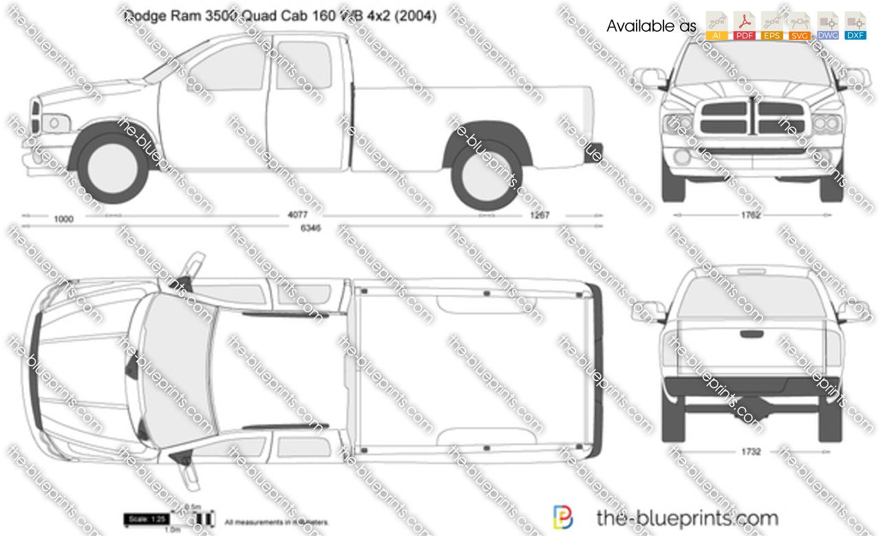Dodge Ram 3500 Quad Cab 160 WB 4x2 vector drawing
