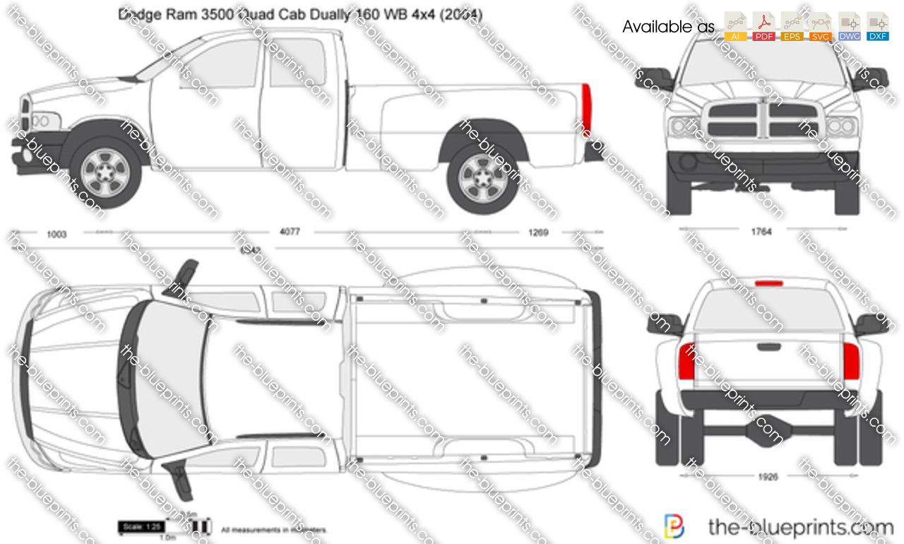 dodge ram 3500 quad cab dually 160 wb 4x4 vector drawing