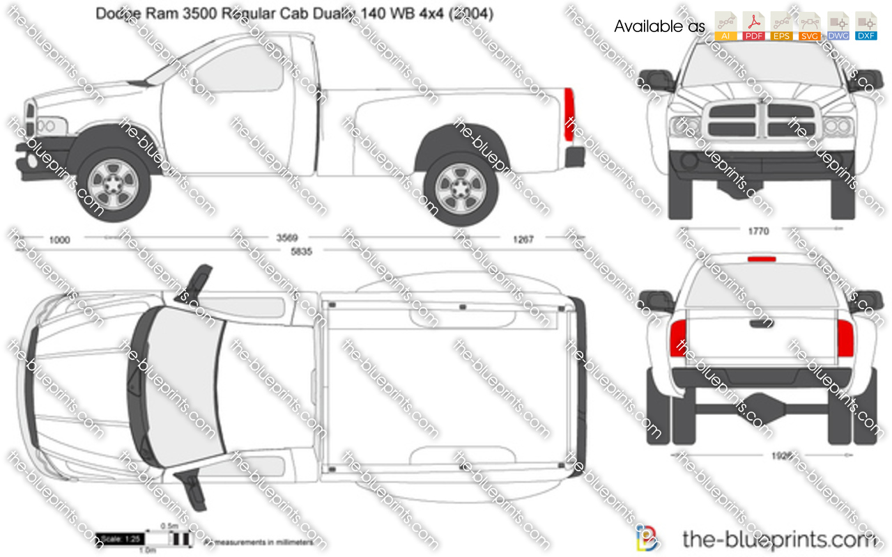 Dodge Ram Regular Cab Dually Wb X on Drawing Of A Dodge Ram 3500 Dually