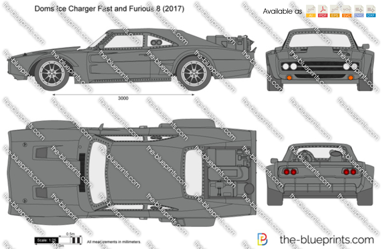 Doms Ice Charger Fast and Furious 8 vector drawing