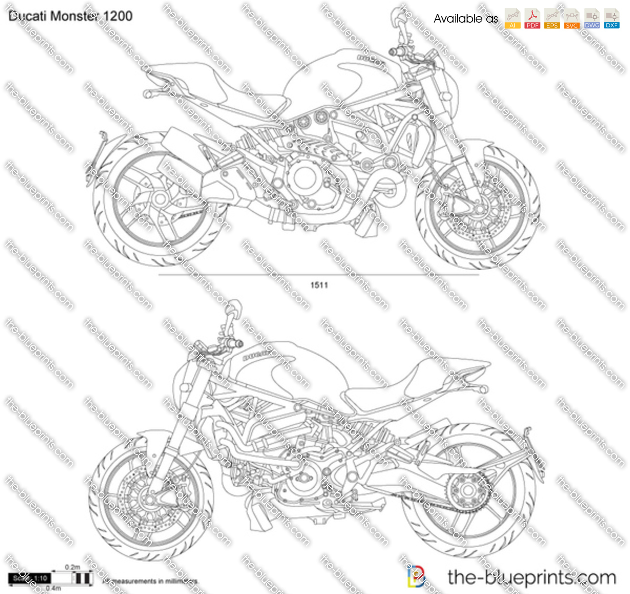 Ducati Monster 1200 Price >> Ducati Monster 1200 vector drawing