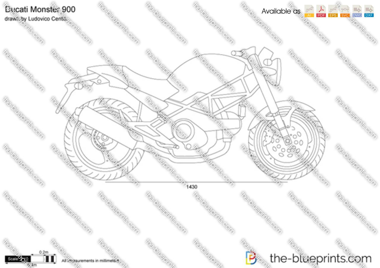ducati monster 900 vector drawing