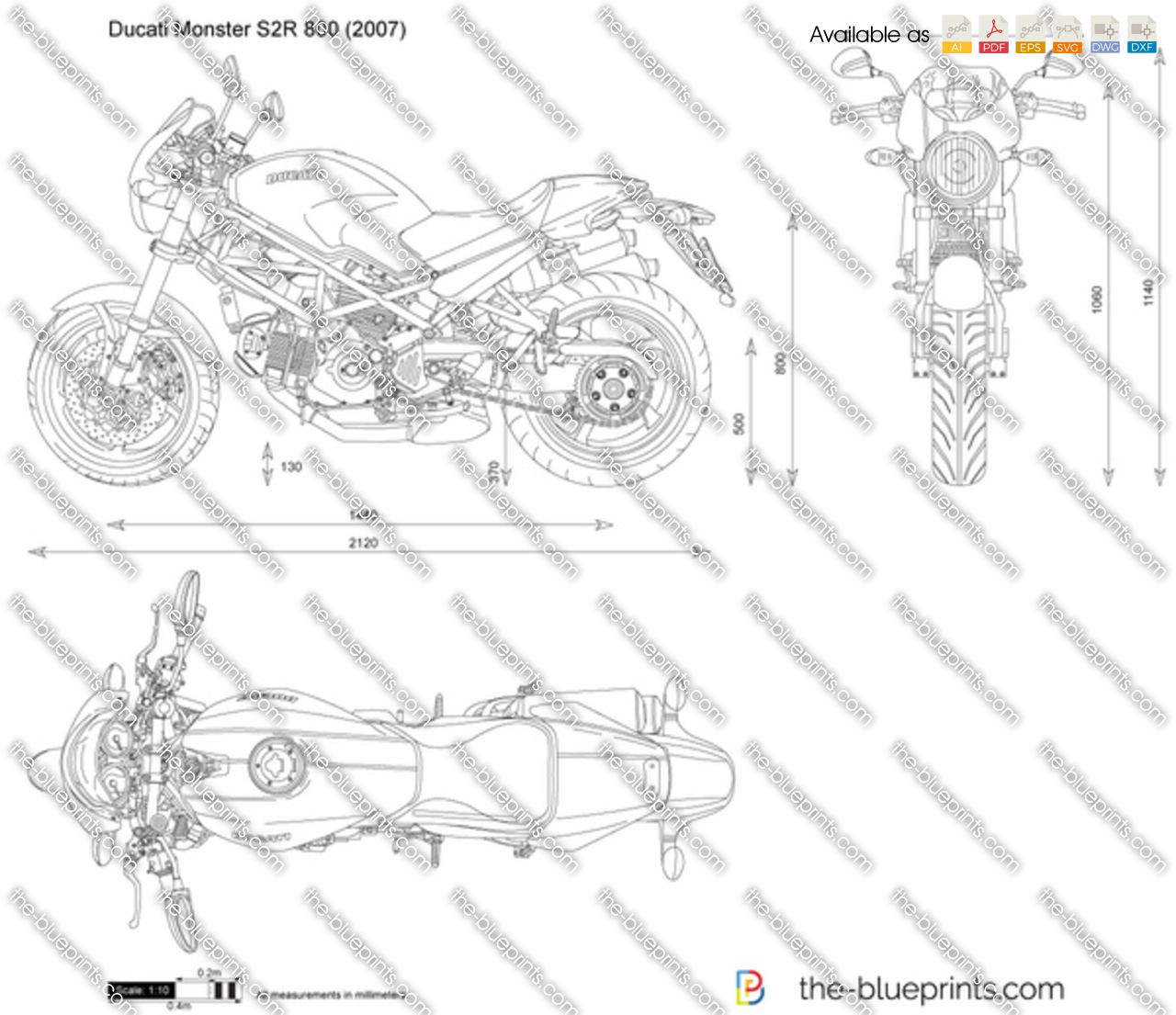 ducati monster s2r 800 vector drawing