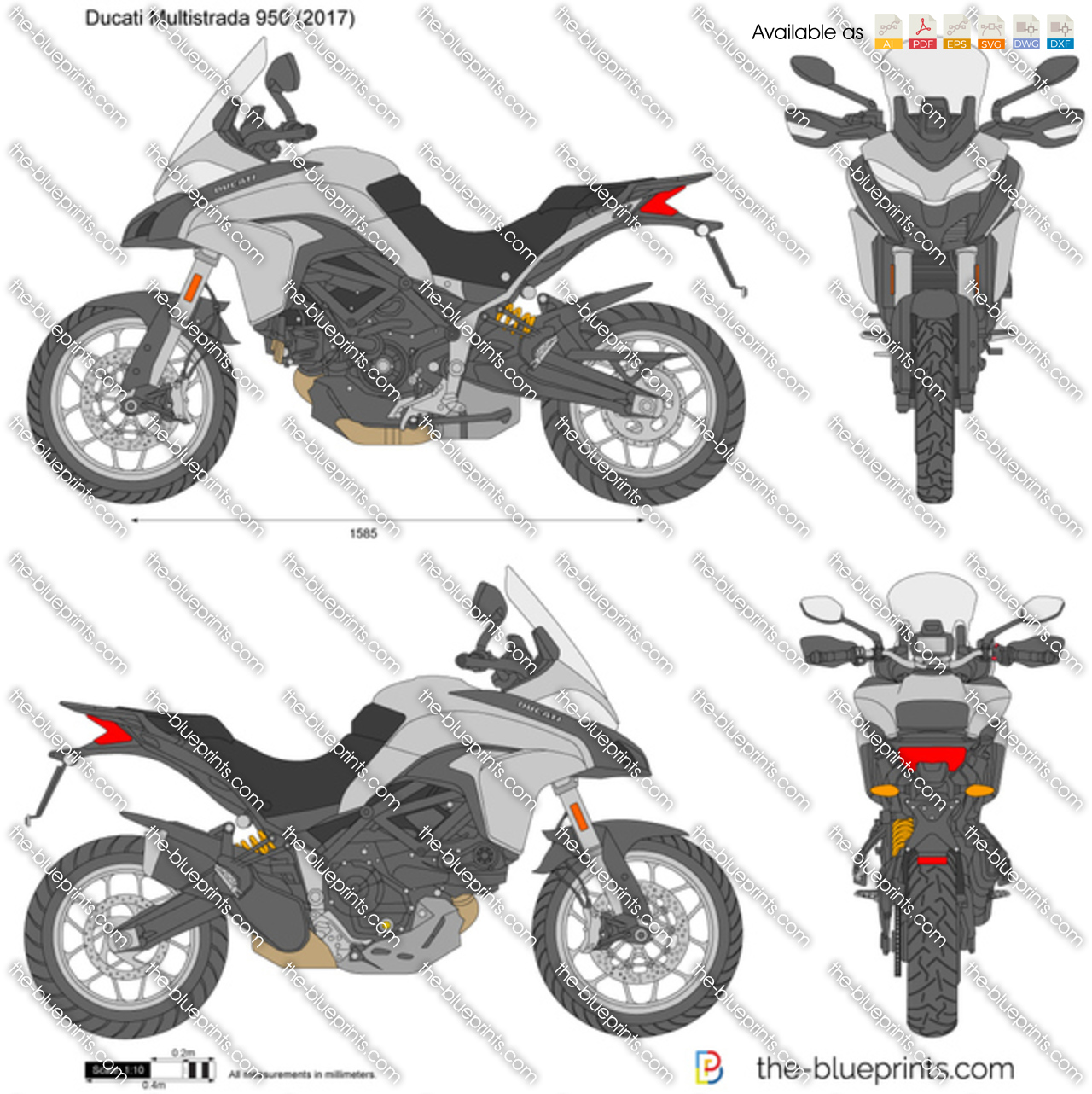 ducati multistrada 950 vector drawing. Black Bedroom Furniture Sets. Home Design Ideas