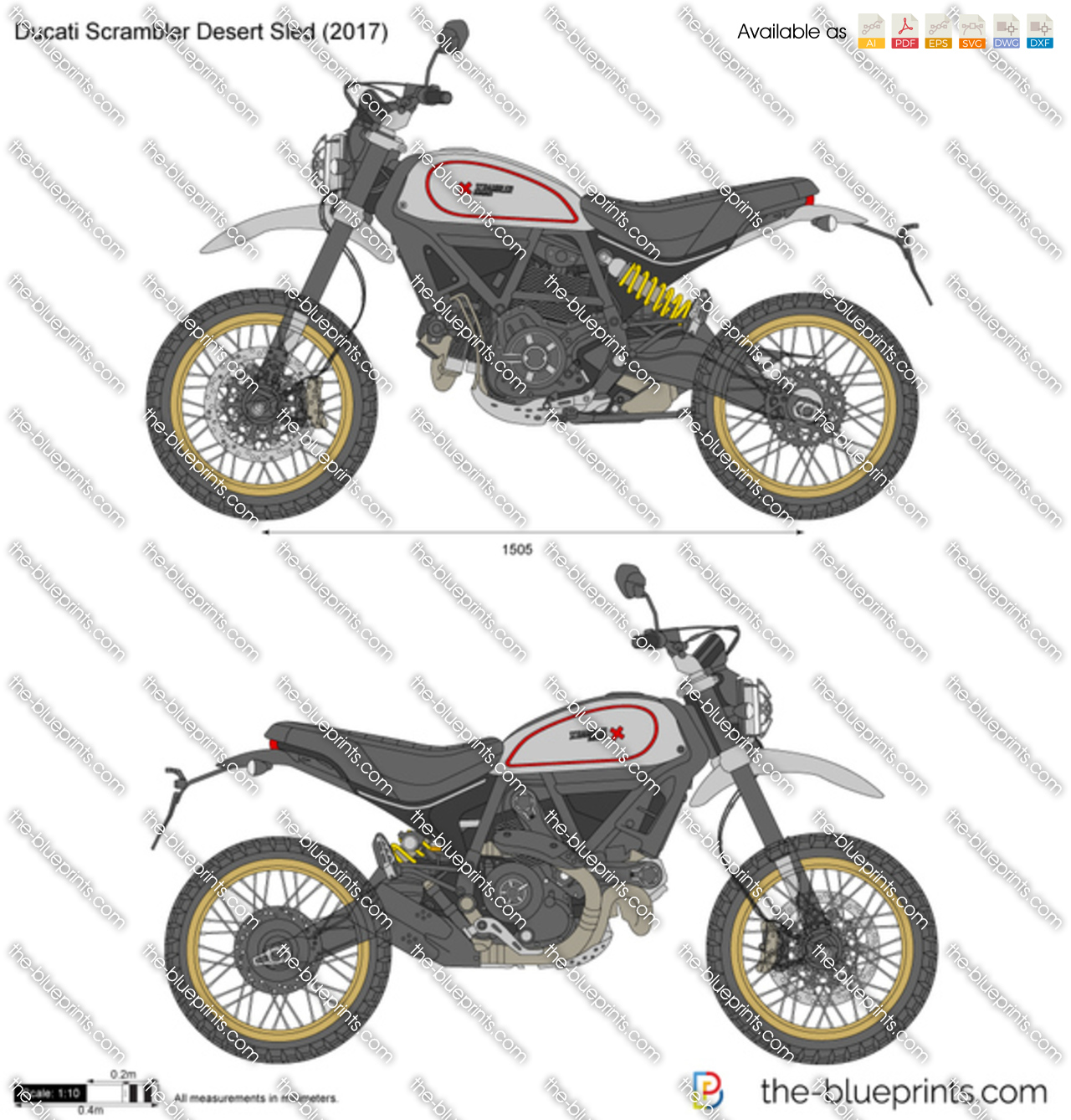 ducati scrambler desert sled vector drawing. Black Bedroom Furniture Sets. Home Design Ideas