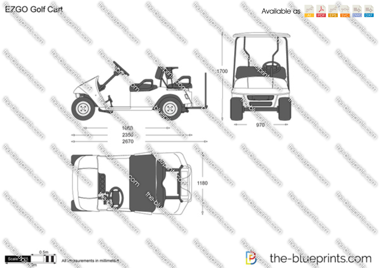 ezgo golf cart vector drawing