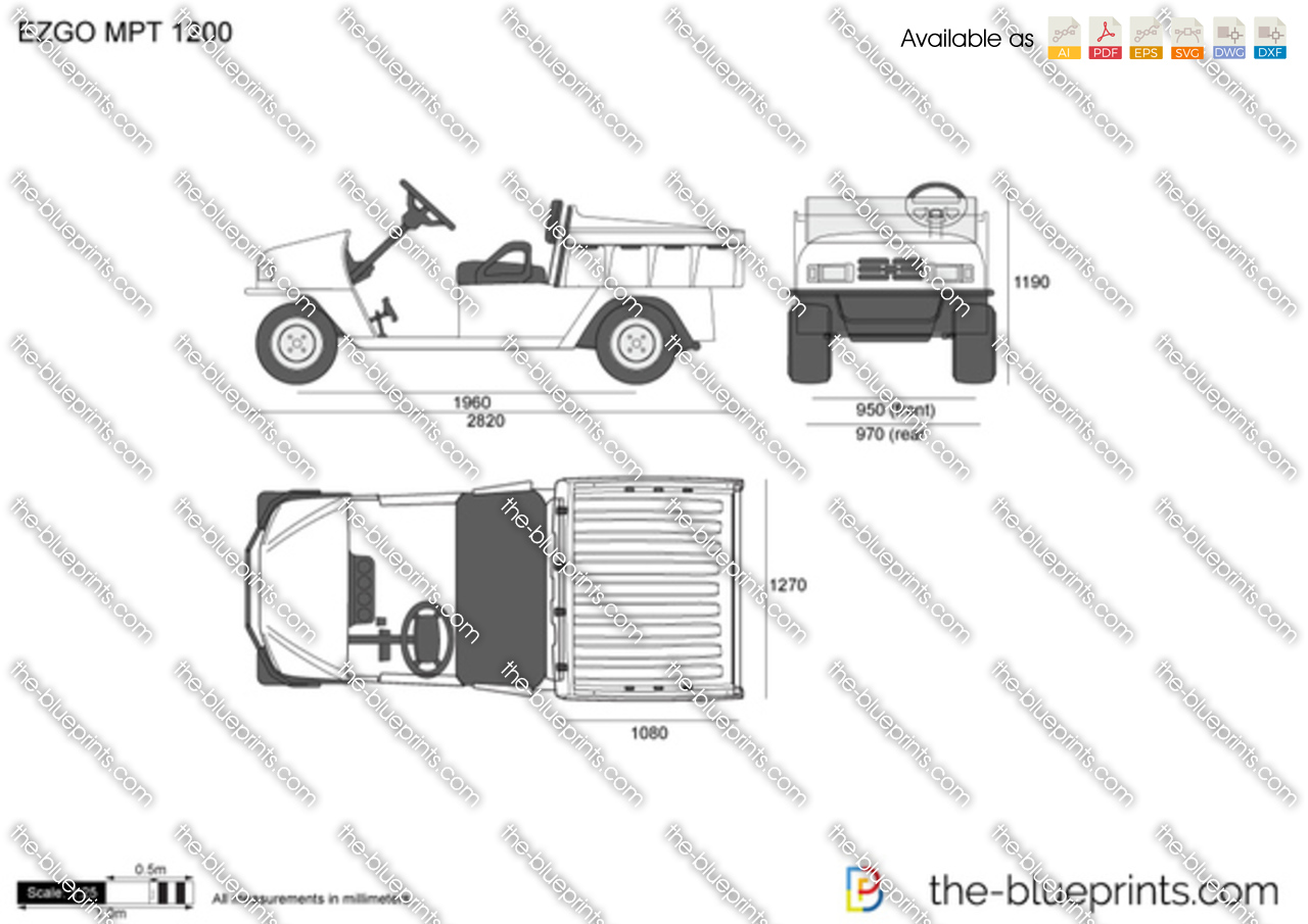 ezgo mpt 1200 vector drawing