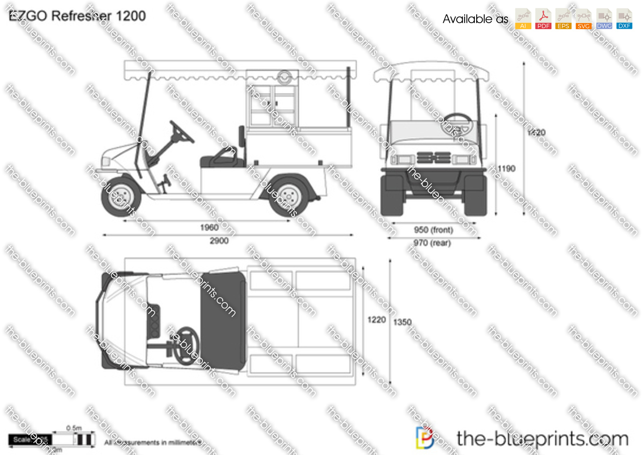 The vector drawing ezgo refresher 1200 for Blueprint sizes