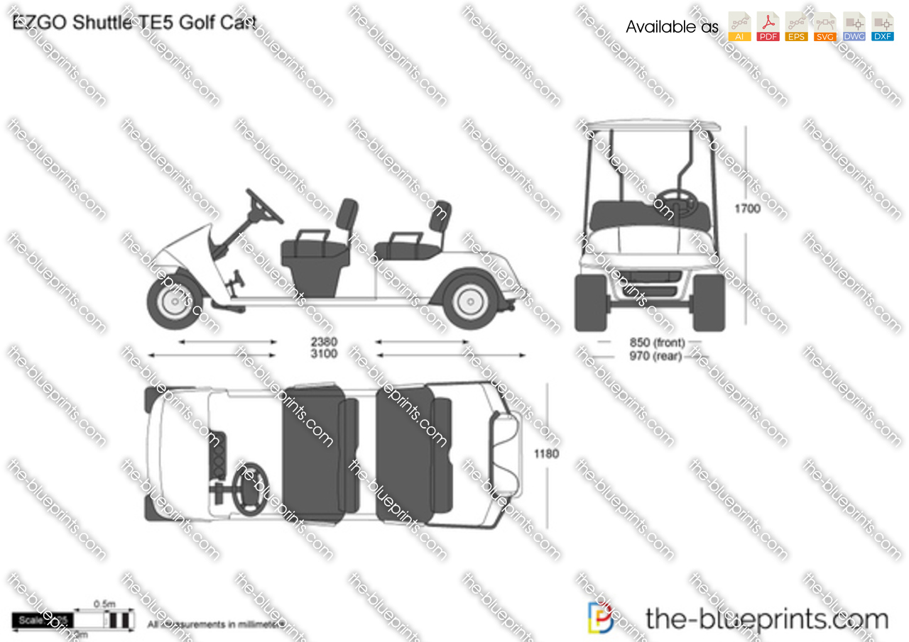The vector drawing ezgo shuttle te5 for Golf cart plans