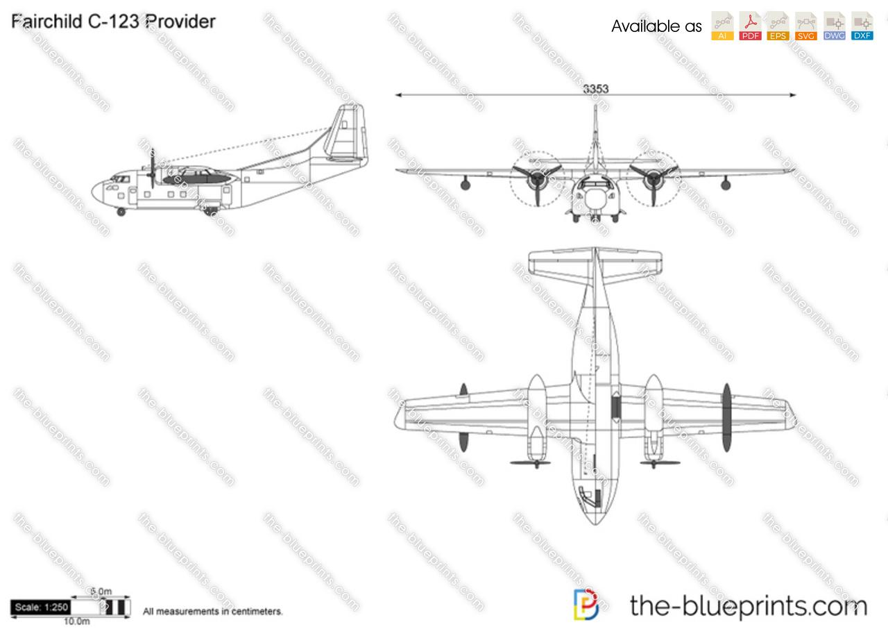 The-Blueprints.com - Vector Drawing - Fairchild C-123 Provider