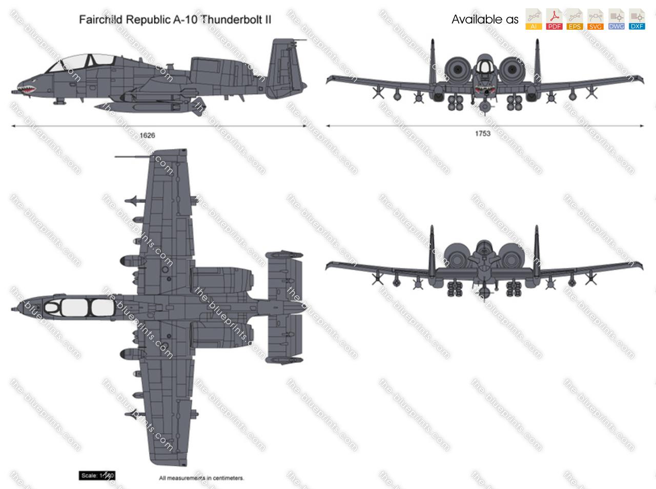 A 10 Thunderbolt Drawing Fairchild Republic A-10